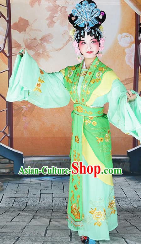 Professional Chinese Beijing Opera Diva Embroidered Costumes Peking Opera Fairy Light Green Dress for Adults