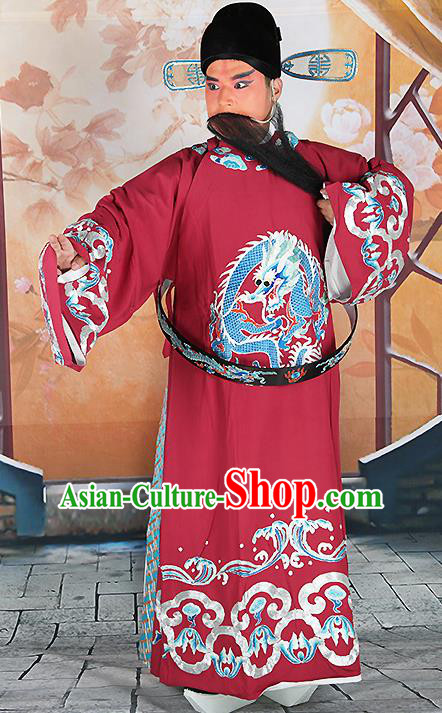 Professional Chinese Peking Opera Officer Embroidered Silk Costume and Hat for Adults