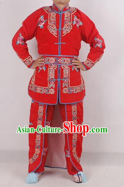Professional Chinese Peking Opera Female Warrior Costume Ancient Swordswoman Embroidered Red Clothing for Adults