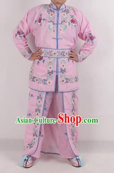 Professional Chinese Peking Opera Female Warrior Costume Ancient Swordswoman Embroidered Pink Clothing for Adults