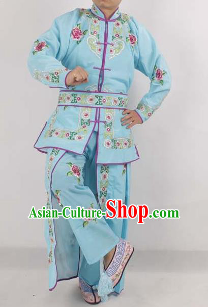 Chinese Peking Opera Female Warrior Costume Ancient Swordswoman Embroidered Blue Clothing for Adults