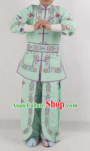 Chinese Peking Opera Female Warrior Costume Ancient Swordswoman Embroidered Green Clothing for Adults