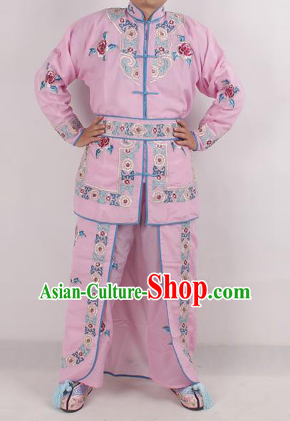 Chinese Peking Opera Female Warrior Pink Costume Ancient Swordswoman Embroidered Clothing for Adults