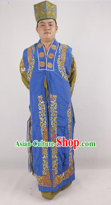 Professional Chinese Peking Opera Ministry Councillor Costume Beijing Opera Blue Clothing for Adults