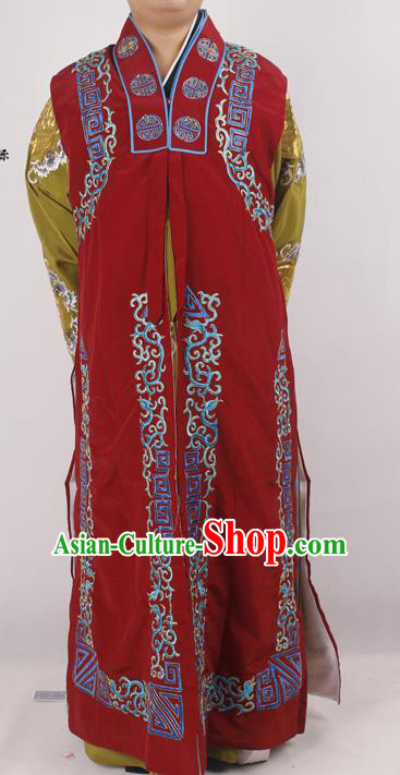 Professional Chinese Peking Opera Ministry Councillor Costume Beijing Opera Red Clothing for Adults