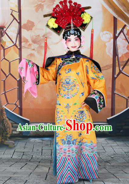 Professional Chinese Beijing Opera Qing Dynasty Empress Embroidered Yellow Costumes and Headwear for Adults