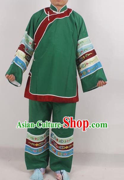 Chinese Peking Opera Pantaloon Green Costume Ancient Matchmaker Embroidered Clothing for Adults