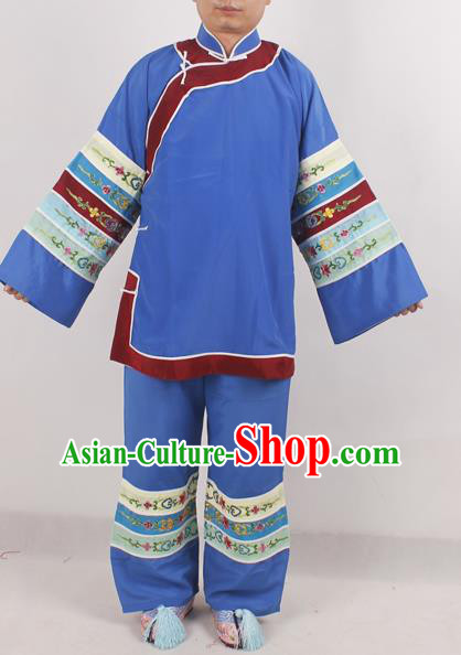 Chinese Peking Opera Pantaloon Blue Costume Ancient Matchmaker Embroidered Clothing for Adults