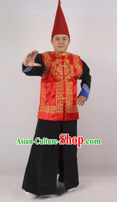 Professional Chinese Peking Opera Hamal Costume Beijing Opera Takefu Clothing and Hat for Adults