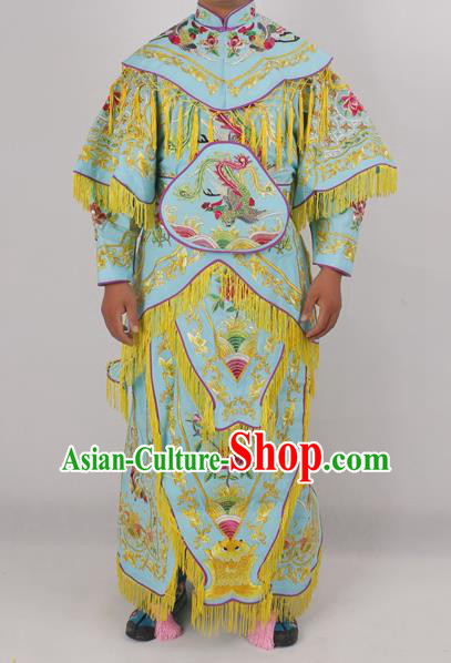 Chinese Peking Opera Blues Green Costume Ancient Female Warriors Embroidered Clothing for Adults