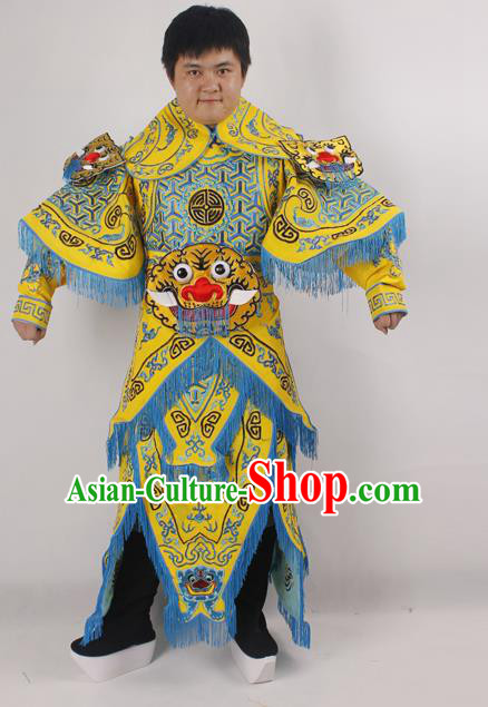 Professional Chinese Peking Opera General Yellow Embroidered Costume Beijing Opera Takefu Clothing for Adults