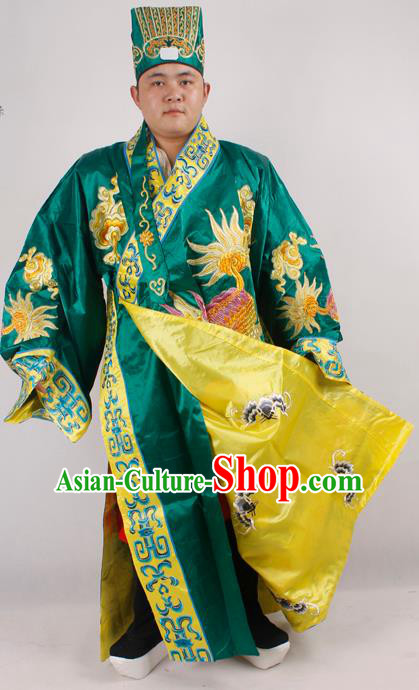 Professional Chinese Peking Opera Minister Costume Beijing Opera Embroidered Kylin Green Robe for Adults