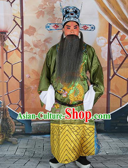 Professional Chinese Peking Opera Old Gentleman Costume Green Embroidered Robe and Hat for Adults