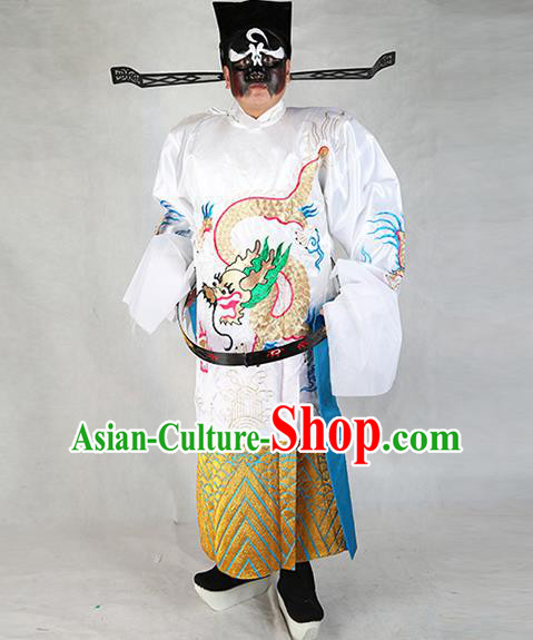 Professional Chinese Peking Opera Old Gentleman Costume White Embroidered Robe and Hat for Adults