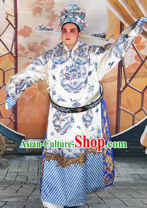 Professional Chinese Peking Opera White Embroidered Robe Prime Minister Costumes and Hat for Adults
