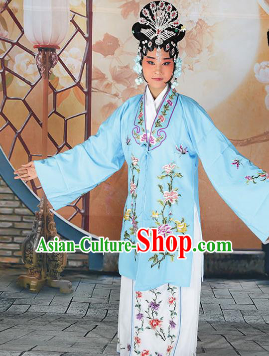 Professional Chinese Beijing Opera Actress Embroidered Peony Light Blue Costumes for Adults