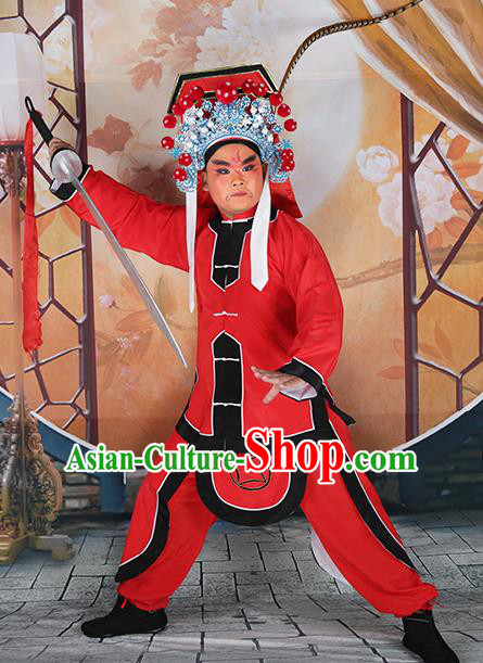 Professional Chinese Peking Opera Imperial Bodyguard Red Costume and Hat for Adults