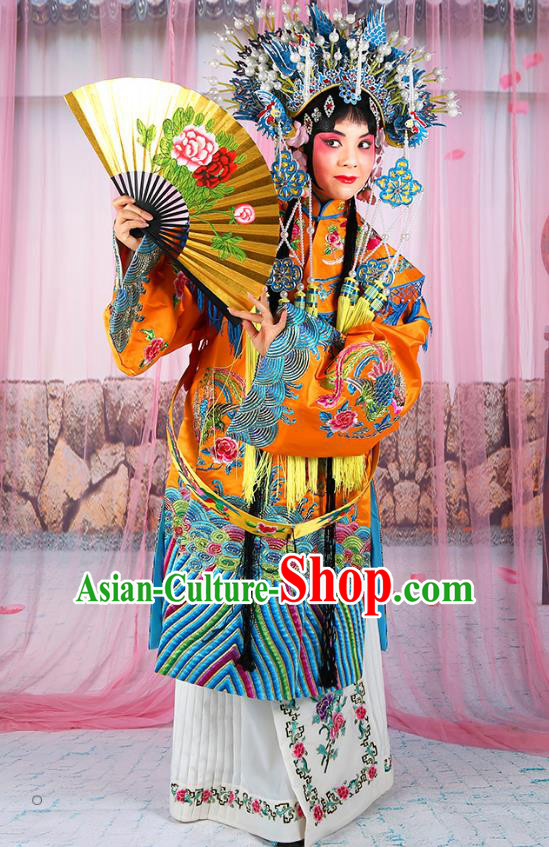 Professional Chinese Beijing Opera Diva Imperial Empress Embroidered Yellow Costumes and Phoenix Coronet for Adults