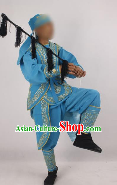 Professional Chinese Peking Opera Takefu Blue Costume and Hat for Adults