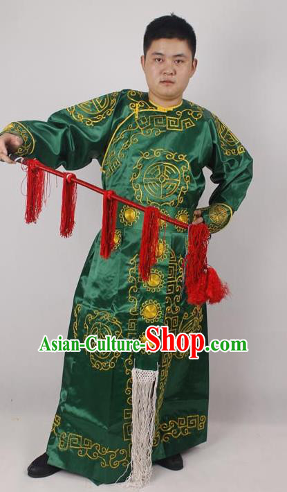 Professional Chinese Peking Opera Takefu Green Embroidered Costume for Adults