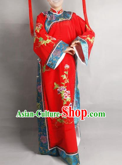 Professional Chinese Beijing Opera Actress Qing Dynasty Princess Embroidered Red Costumes for Adults