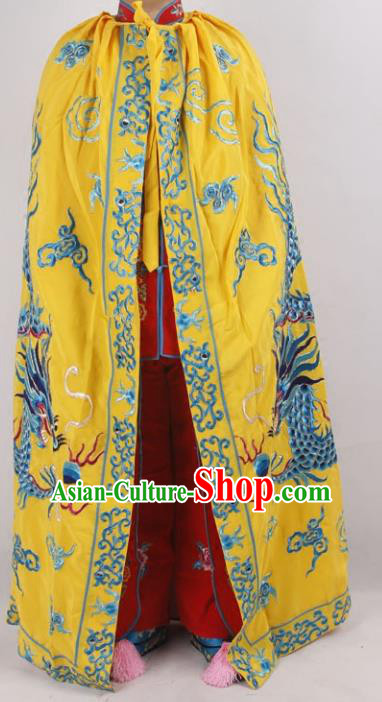 Professional Chinese Peking Opera Royal Highness Embroidered Yellow Cloak Costume for Adults