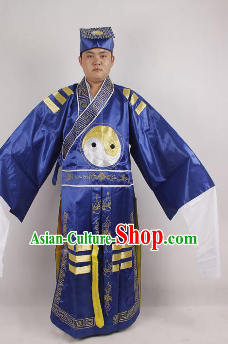 Professional Chinese Peking Opera Strategist Costume Embroidered Blue Robe and Hat for Adults