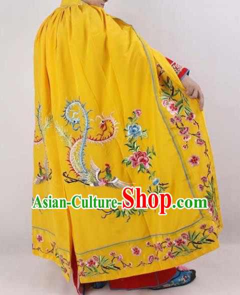 Professional Chinese Peking Opera Imperial Consort Embroidered Yellow Cloak Costumes for Adults
