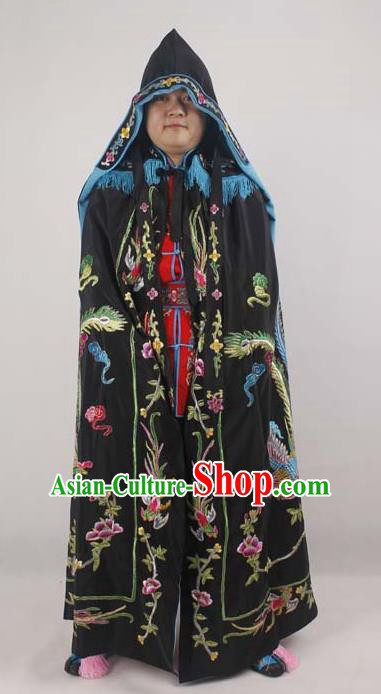 Professional Chinese Peking Opera Imperial Consort Embroidered Phoenix Black Cloak Costumes for Adults