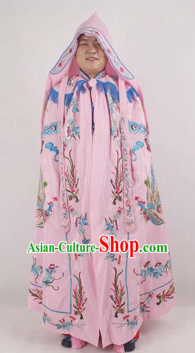 Professional Chinese Peking Opera Imperial Consort Embroidered Phoenix Pink Cloak Costumes for Adults