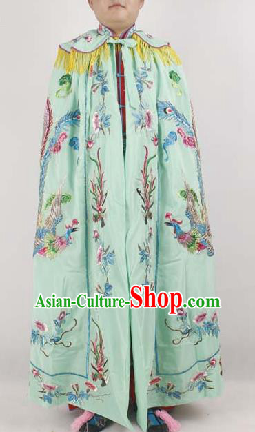 Professional Chinese Peking Opera Imperial Consort Embroidered Phoenix Green Cloak Costumes for Adults