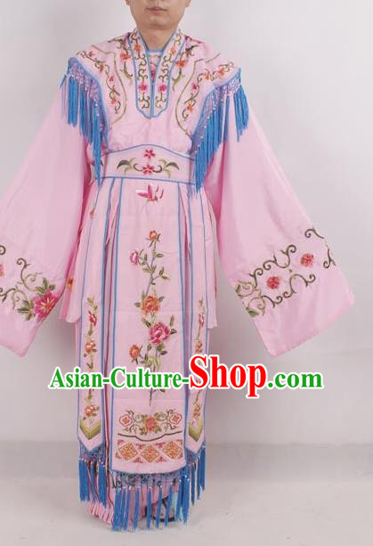 Professional Chinese Peking Opera Diva Costumes Ancient Fairy Embroidered Pink Dress for Adults