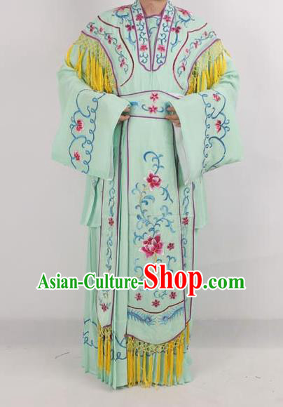 Professional Chinese Peking Opera Diva Costumes Ancient Fairy Embroidered Green Dress for Adults