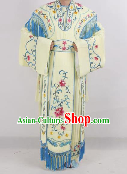 Professional Chinese Peking Opera Diva Costumes Ancient Fairy Embroidered Light Yellow Dress for Adults