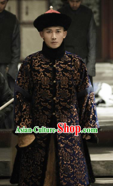 Drama Story of Yanxi Palace Chinese Ancient Qing Dynasty Emperor Quanlong Winter Costumes and Hat Complete Set
