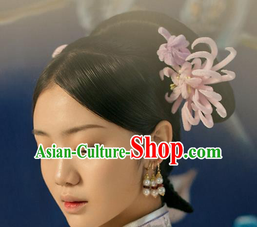 Top Grade Chinese Handmade Hair Accessories Qing Dynasty Pink Velvet Chrysanthemum Flowers Hairpins for Women