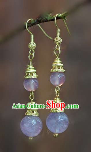 Chinese Handmade Crystal Earrings Ancient Bride Ear Jewelry Accessories for Women
