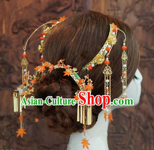 Chinese Handmade Ancient Wedding Hair Accessories Maple Leaf Hairpins Complete Set for Women