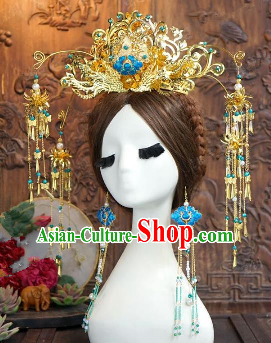 Chinese Handmade Ancient Wedding Hair Accessories Hairpins Phoenix Coronet Complete Set for Women