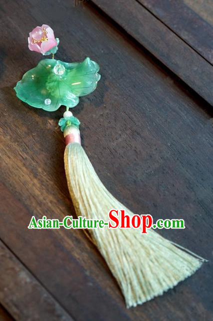 Chinese Handmade Pressure Front Lotus Brooch Ancient Bride Jewelry Accessories for Women