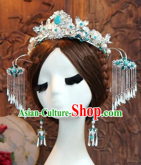 Chinese Handmade Ancient Wedding Hair Accessories Tassel Phoenix Coronet Hairpins Complete Set for Women