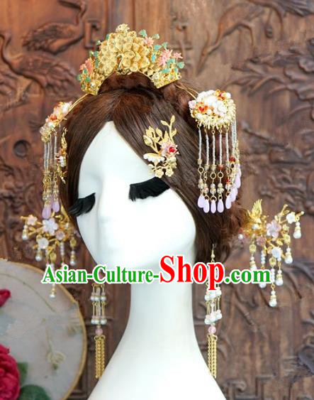 Chinese Handmade Ancient Wedding Hair Accessories Tassel Step Shake Hairpins Complete Set for Women