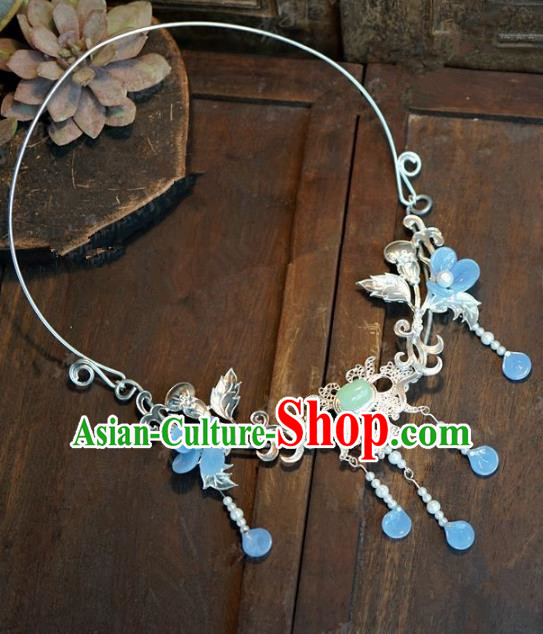 Chinese Handmade Blue Flowers Necklace Ancient Bride Hanfu Necklet Jewelry Accessories for Women
