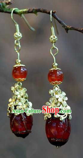Chinese Handmade Earrings Ancient Bride Red Agate Jewelry Accessories for Women