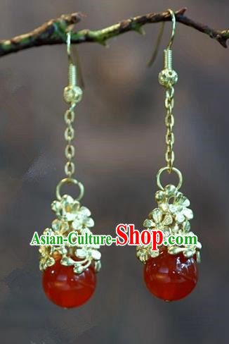 Chinese Handmade Ancient Bride Red Agate Beads Earrings Jewelry Accessories for Women