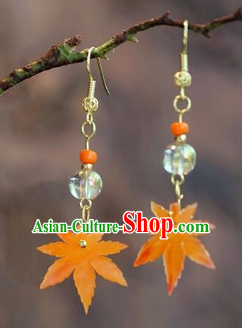 Chinese Handmade Ancient Bride Maple Leaf Earrings Jewelry Accessories for Women