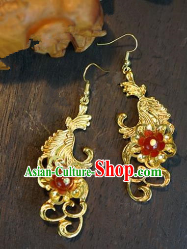Chinese Handmade Ancient Bride Golden Earrings Jewelry Accessories for Women
