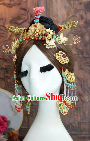 Chinese Traditional Ancient Palace Lady Hairpins Queen Headdress Complete Set for Women