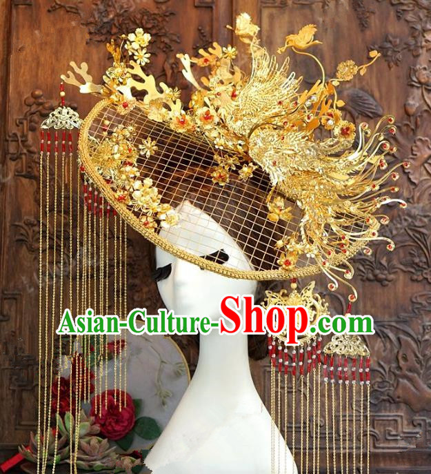Chinese Traditional Ancient Palace Lady Phoenix Coronet Queen Headdress Hairpins for Women