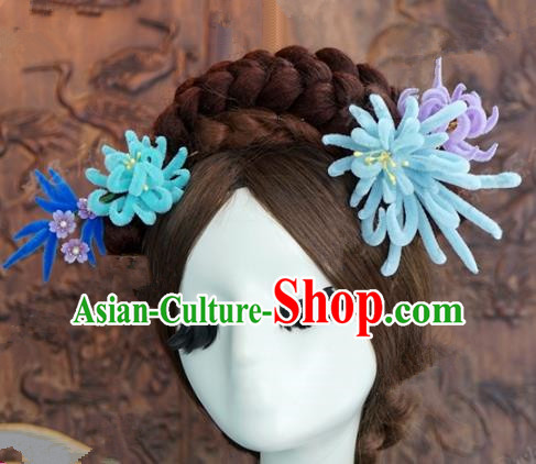 Top Grade Chinese Handmade Hair Accessories Qing Dynasty Princess Blue Velvet Chrysanthemum Hairpins for Women